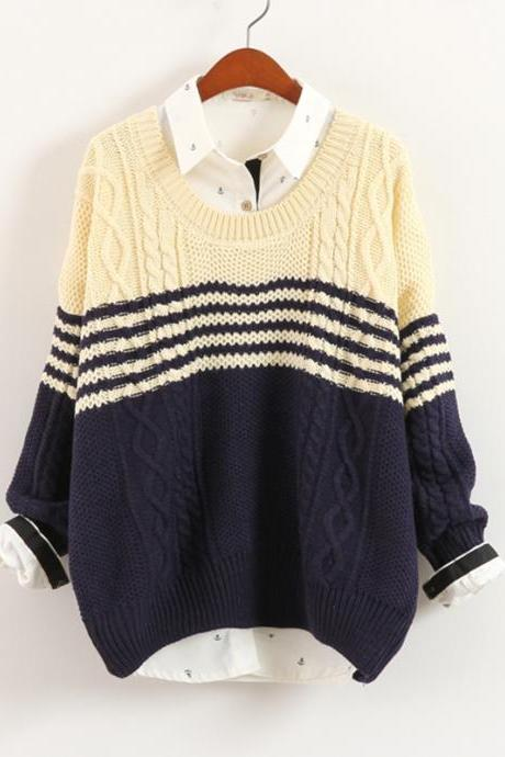 Hot sale Blue Stripes Twist Loose Pullovers Blue Knitwear
