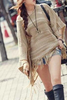 Hot sale Casual Solid Sweater Hollow Tassel Hem Bat Sleeve Loose