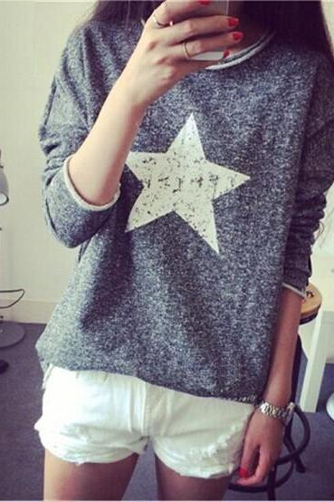 Hot sale Long-Sleeved Pentagram Shirt Tops for women