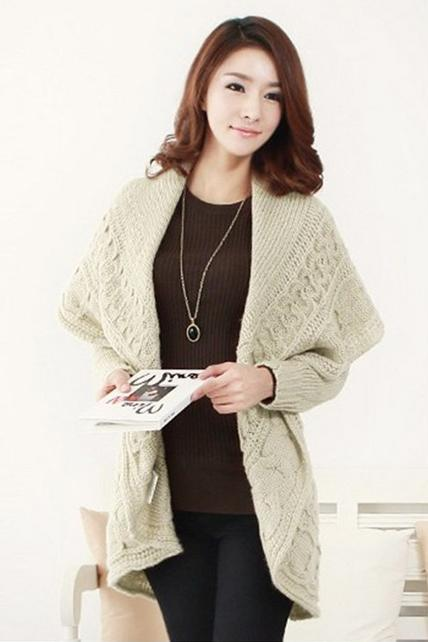 Hot sale Stylish Lady Turndown Collar Apricot Long Sweater Cardigans for women