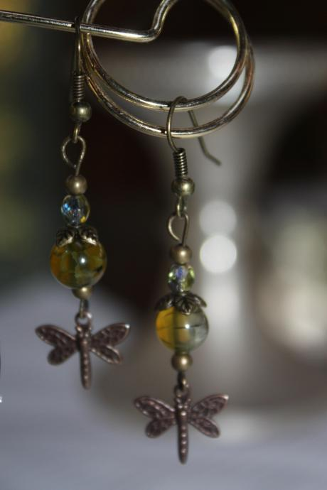 Glass and Czech Bead Dangle Earring with Firefly Charm