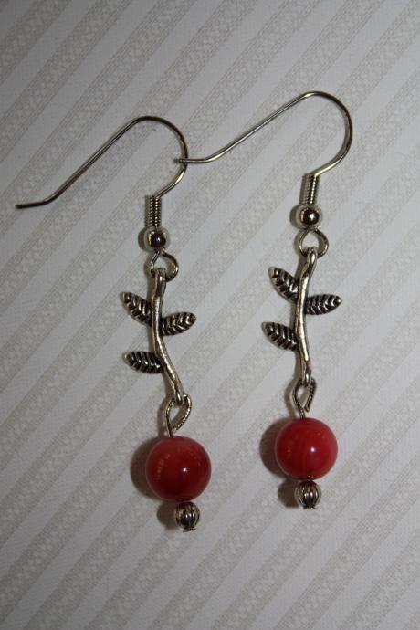 River Shell Beading and Antique style Leaf Dangle Earrings