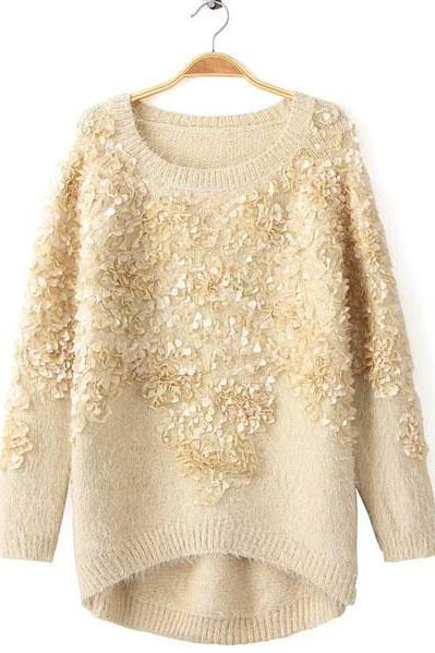 Fashion Cream Decorative Flower Sweater EJADCGS7LM2NCQAIQ7XX5 SMMEF5VX50L