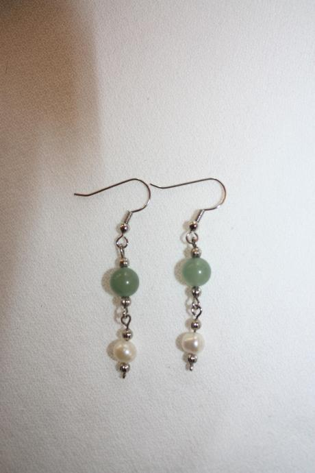 Fresh Water Pearl and Jade Glass Bead Earrings