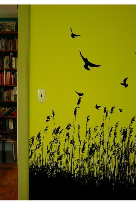 Birds and Wheat Vinyl Wall Decal 22118