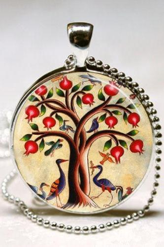 Tree of Life Necklace Birds and Pomegranate Fruit Tree Nature Art