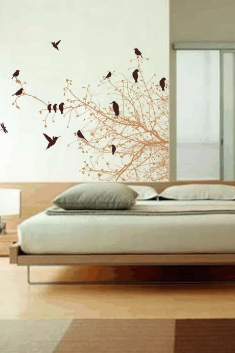 Wall Decal Bare Tree Branches and Birds Right Sided 22113