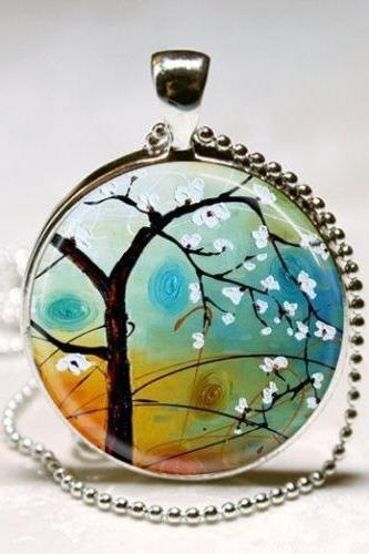 Cherry Blossoms Sakura Jewelry Tree Necklace Landscape Art Pendant with Ball