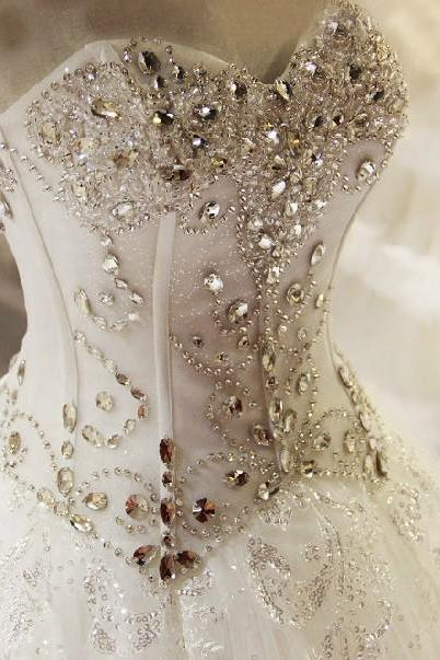 Fully Beaded Corset Wedding Dressses with Crystals Princess Bridal Gowns Vestido De Noiva