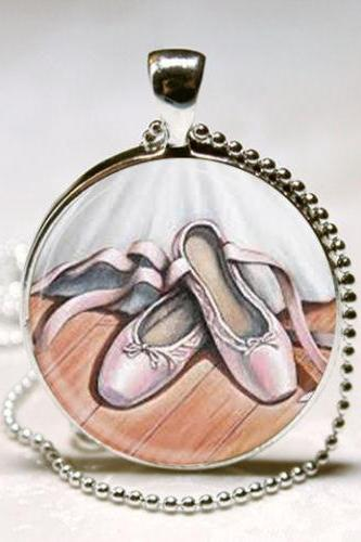 Ballet Necklace Dance Jewelry Pink Ballerina Slippers Dancer Art Pendant