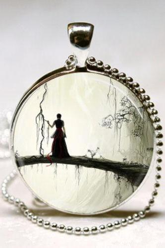 Gothic Jewelry Spooky Woman Silhouette Enchanted Forest Fantasy Art Pendant