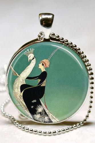 Art Deco Jewelry Woman on White Peacock Emerald Green Peacock Necklace