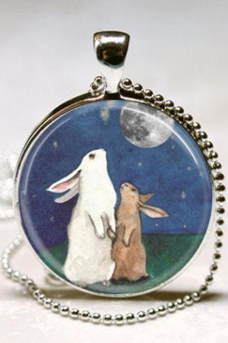 Rabbit Necklace Full Moon Jewelry I Love You to the Moon and Back Art Pendant