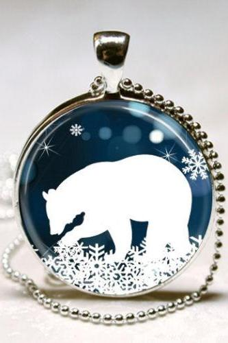 Polar Bear Necklace Christmas Jewelry Blue and White Snowflake Art Pendant