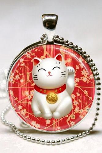 Lucky Cat Necklace Red Maneki Neko Good Luck Charm Japanese Art Pendant