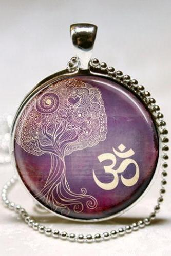 Tree Of Life Necklace Yoga Jewelry Om, Aum, Zen, Meditation, Buddhism, Purple