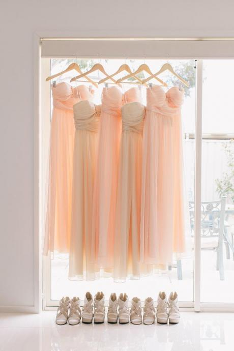 Lovely Pink Chiffon Long Bridesmaid Dresses, Pink Bridesmaid Dresses, Weddings, Pink Prom Dresses, Formal Dresses