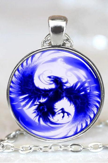 Blue Phoenix Pendant, Blue Phoenix Necklace, Blue Pheonix Jewelry, Blue