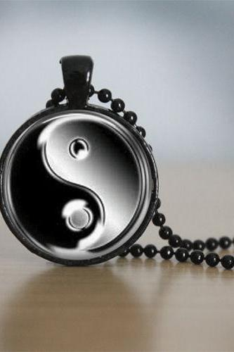 Glass Tile Necklace Ying Yang Necklace Black Jewelry Black Necklace Black