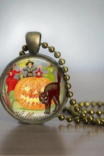 Halloween Necklace GlassTile Necklace Vintage Witch Brass Necklace Glass Tile