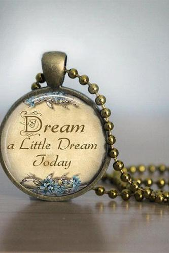 Glass Tile Necklace Bronze Necklace Bronze Jewelry Dream a Little Dream Glass