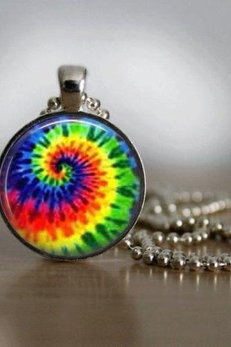 Tie Dye Necklace Glass Tile Necklace Tie Dye Jewelry Silver Necklace Silver