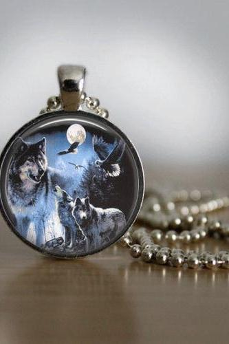 Glass Tile Necklace Wolf Necklace Moon Necklace Glass Tile Jewelry Eagle
