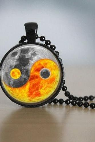 Ying Yang Necklace Glass Tile Necklace Sun and Moon Jewelry Celestial Jewerly