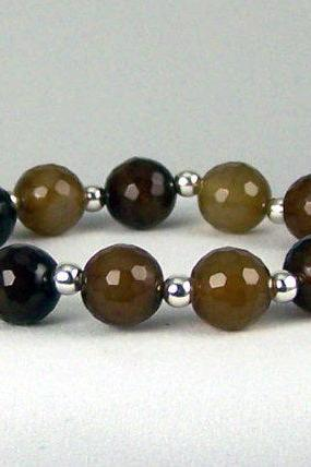 Faceted Mixed Agate Gemstones with Sterling Silver, Faceted Agate Energy Bracelet, Comfort Bracelet, Free Shipping