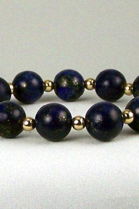 Creativity Lapis Energy Bracelet with 14K Gold Filled Accent Beads, Comfort Jewelry, Free Shipping