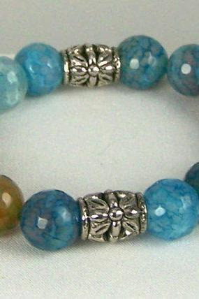 Faceted Agate Gemstone Bracelet, Ladies Size 6.5, Unique Gift Idea, Free Shipping