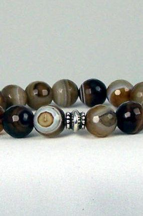 Agate Gemstone Energy Bracelet with Yogi bead, Meditation Bracelet, Free Shipping, Great Gift Ideas