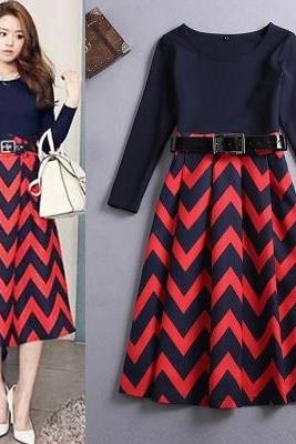 Fashion Color Block Striped Dress For Autumn