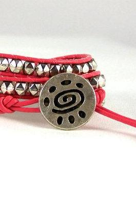 Pink Leather Wrap Bracelet, Tribal Design, Nugget Bracelet, Teen Jewelry, Unique Gift Idea, Free Shipping, Available in All Colors