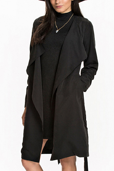Fashion Turndown Collar Long Sleeves Black Blending Long Trench Coat with Belt