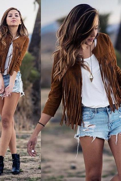 Fashion New Women Lady Slim Tassels Top Blouse Outwear Parka Trench Coat Jacket