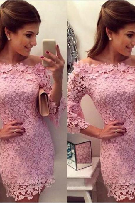 New Formal Lace Prom Ball Wedding Short Maxi Dress Bridesmaid Evening Gown Pink