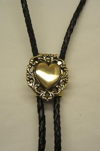Special Sale Price Ends 9/12/15,,Bolo Tie, Bolos, Filigree Heart, Western, Shiny Brass, Men's, Women's Accessories,#80160-5, SALE PRICE