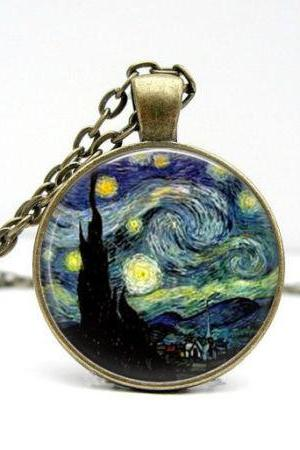 Starry Night Necklace, Van Gogh Pendant, Charms, Art Pendant, Bronze Jewelry