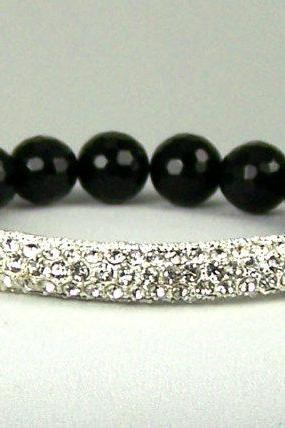 Release Negativity, Meditation Energy Bracelet in Black Onyx with Rhinestone accent, Free Shipping