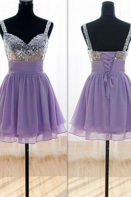 Sweetheart Chiffon knee-length bridesmaid dresses Lavender Short Chiffon Sequins Prom Dresses Light Purple Homecoming Dresses Graduation Dresses Short Prom Dresses
