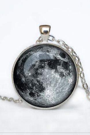 Full Moon Necklace Moon Pendant Space Galaxy Grey Moon Jewelry Necklace for men