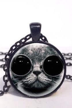 Cool Steampunk Cat Necklace, Goggles Cool Cat Jewelry, Cat Art Pendant