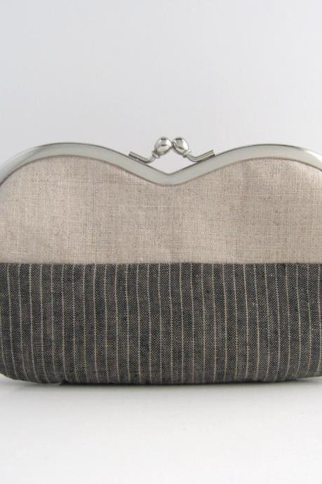 Frame sunglasses case -gray and natural linen