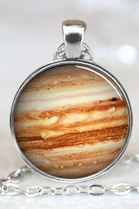 Jupiter Necklace Glass Pendant Orange Planet Pendant Science Jewelry Geek