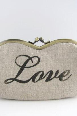 Sunglasses -Love print on beige linen