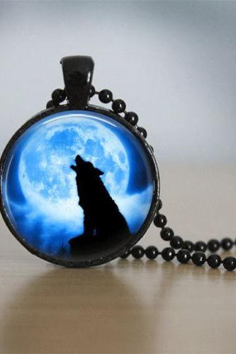 Glass Tile Necklace Wolf Necklace Moon Necklace Glass Tile Jewelry Animal
