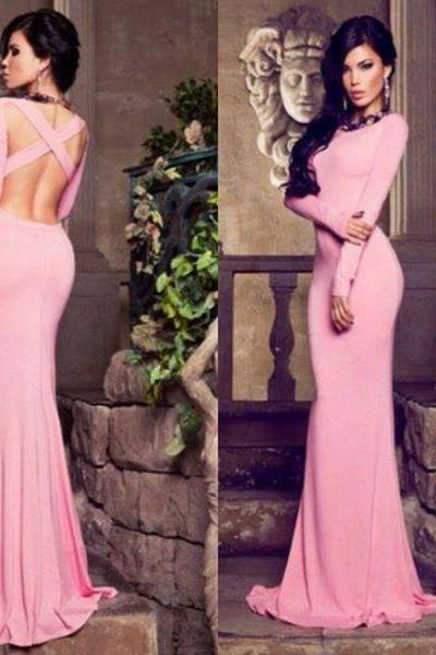 Long Sleeve Pink Evening Dress, Jersey Evening Dress, Mermaid Evening Dresses, Backless Evening Dress, Formal Dress 2016, Long Evening Gowns
