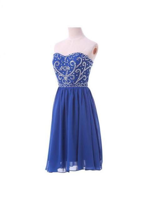 Fashional elegat royal blue sweetheart embroidery and beaded short prom homecoming dress,lace up back chiffon dress prom knee length formal party dress