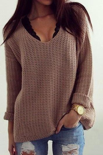 Sexy V Neck Long Sleeve Khaki Sweater